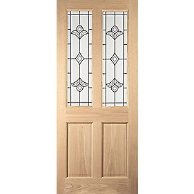 Jeld-Wen Wetherby 2-Light Glazed Exterior Door Oak Veneer 762 x 1981mm