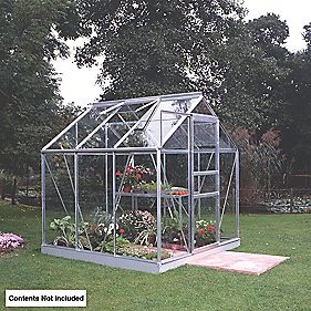 "Halls Popular Greenhouse Aluminium Toughened Glass 3'6"" x 6'3"" x 6'3"""