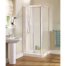 Swirl Bifold Glass Shower Door Chrome 800mm