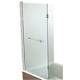 L-Shaped Shower Bath Screen Frameless Chrome / Clear 815 x 1400mm