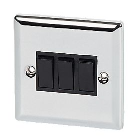 Volex 10A 3-Gang 2-Way Switch Blk Ins Pol Chrome Angled Edge
