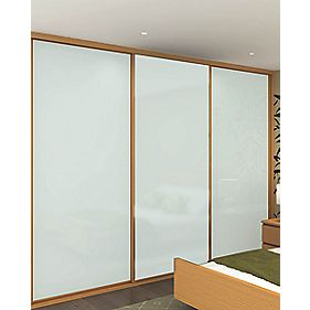 Sliding Wardrobe Doors Oak Effect Frame White Glass Panel 3-Dr 2672x2330mm