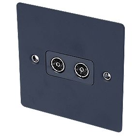 Volex Twin TV Socket Blk Ins Matt Black Flat Plate