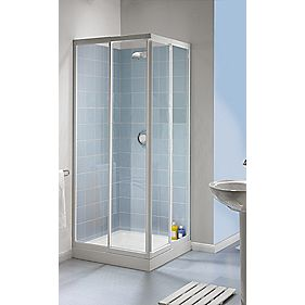 Aqualux Aqua 4 Square Slider Door Shower Enclosure White 760mm