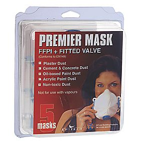 Premier Mask Valved Face Masks with Free Pair of Safety Specs FFP1 Pack of 5