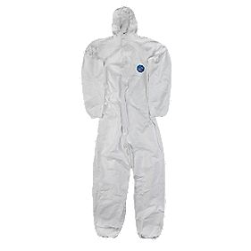 "Tyvek CH5 Classic Hooded Disposable Coverall White Large 40-42"" Chest 32"" L"