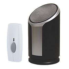 Wireless 200m Portable Door Chime Kit with Li-Ion Powered Bell Push Black