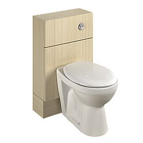 Bathroom Slimline WC Unit Inc Toilet & Cistern Oak Shaker 500 x 200 x 810mm