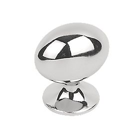 Oval Cabinet Knob Polished Chrome 35mm Pack of 5