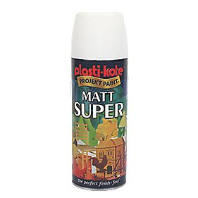 Plasti-Kote Super Multipurpose Matt Spray Paint Matt White 400ml