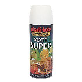 Plasti-Kote Super Multipurpose Spray Paint Matt White 400ml