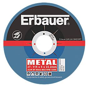Erbauer Metal Grinding Discs 115 x 6 x 22.23mm Pack of 5