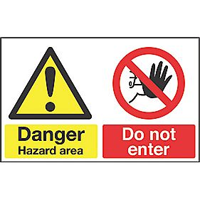 """Danger Hazard Area"" Sign 300 x 500mm"