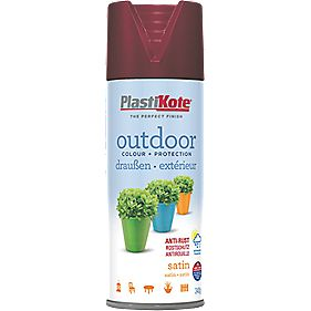 Plasti-Kote Outdoor Spray Paint Satin Wine Red 400ml