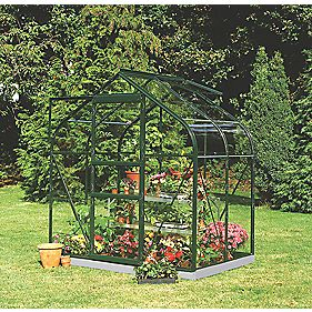 Halls Supreme 46 Aluminium Greenhouse Green Toughened Glass 6' 3 x 4' 3