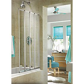 Aqualux Folding Bath Screen Silver / Clear 840 x 1400mm