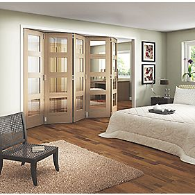 Jeld-Wen Softwood 5-Door Folding Room Divider Oak Veneer 3164 x 2044mm