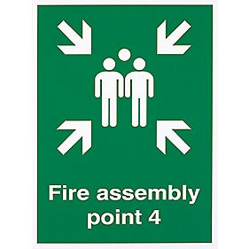 """Fire Assembly Point 4"" Sign 400 x 300mm"