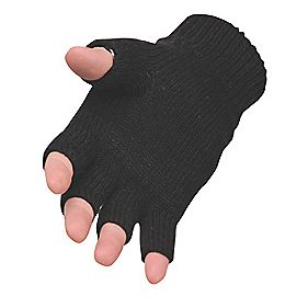 General Handling Fingerless Knit Thinsulate Gloves Black One Size