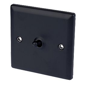 Volex 1-Gang 2-Way Toggle Switch Matt Black Angled Edge