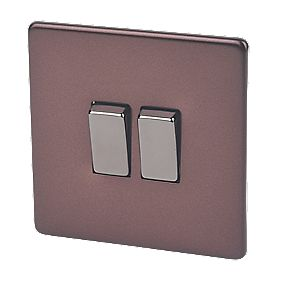 Varilight 2-Gang 2-Way 10A Mocha Metal Rocker Switch