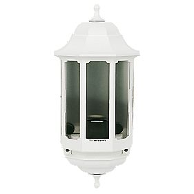 ASD Half 60W White Lantern Wall Light Photocell Included