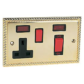 45A Switch / 13A Socket + Neon Georgian Brass
