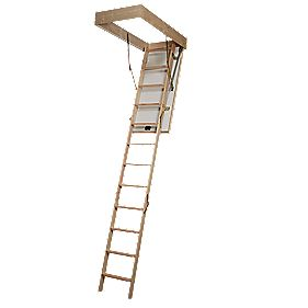 1303-050 Eurofold Loft Ladder Timber 2-Section 12-Tread
