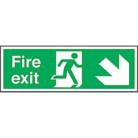 """Fire Exit"" Down Right Arrow Sign 150 x 450mm"