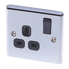 LAP 13A 1-Gang DP Switched Plug Socket Polished Chrome