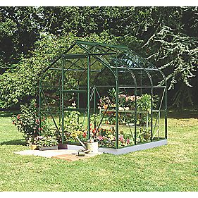 "Halls Supreme 66 Aluminium Greenhouse Green Toughened Glass 6'4"" x 6'5"""