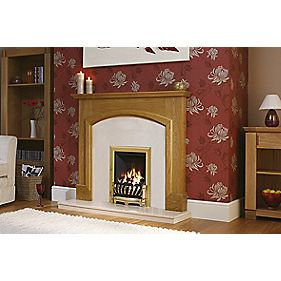 "Be Modern Hampton 51"" Fire Surround, Back Panel, Hearth & Deepline Gas Fire Pearl Micro Marble"