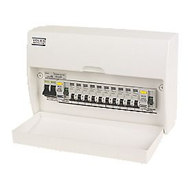 Volex 10 Way Dual RCD Split Load Unit and 10 MCBs