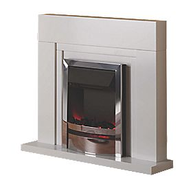 Wintherbrowne Malton Modern Electric Fire & Surround Chrome Effect & White