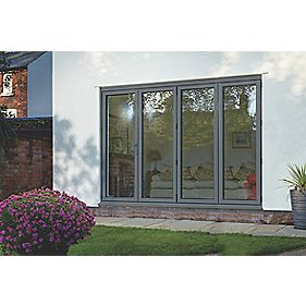 Spaceslide Bi-Fold Double-Glazed Patio Door LH Grey 3163 x 2094mm