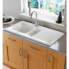 Astracast Ardenne Ceramic Reversible 1½ Bowl Kitchen Sink with Drainer