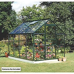 Halls Popular Framed Greenhouse Green 6' x 8'