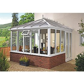 E1 Edwardian uPVC Double-Glazed Conservatory White 2.53 x 2.46 x 2.98m