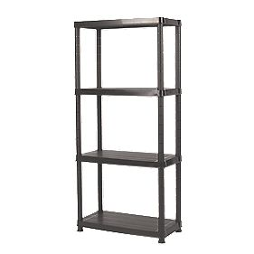Solid Plastic Shelving with 100kg Shelf Capacity 4-Tier Tier