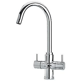 Brita Torlan 3-Way Sink-Mounted with Swivel Spout Mono Mixer Kitchen Filter Tap Chrome