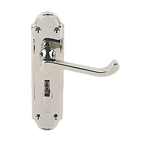 Jedo Sherborne Lever on Backplate WC Door Handles Pair Polished Nickel