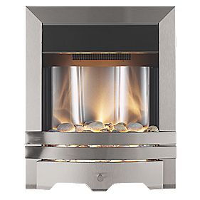 B and Q Lulworth Modern Electric Fire Brushed Steel Effect 2kW