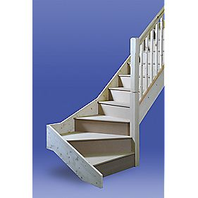 Stairways Chamfered Bottom Winder Staircase RH White