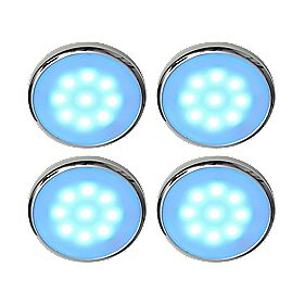 LAP Circo Disk Cabinet Downlight Blue LED Chrome Effect Pack of 4