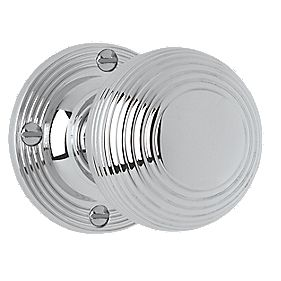 Jedo Frelan Ribbed Mortice Knobs Pair Polished Chrome