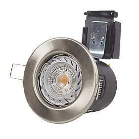 Robus Fixed Fire Rated Mains Voltage Downlight 3000K Brushed Chrome 240V