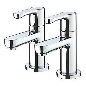 Bristan Nero Basin Pillar Bathroom Taps Pair