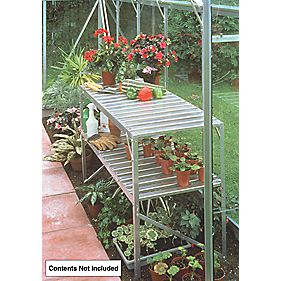 "Halls Greenhouse 2-Tier Staging Aluminium 3'6"" x 1'7"" x 2'4"""