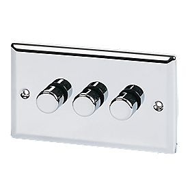 Volex 3-Gang 2-Way 250W M/LV Dimmer Pol Chrome Angled Edge