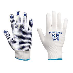 General Handling Nylon Polka Dot Gloves Blue X Large